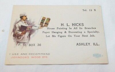 RARE old HL Hicks House Painting Decorating Business Card Ashley IL Early 1900's