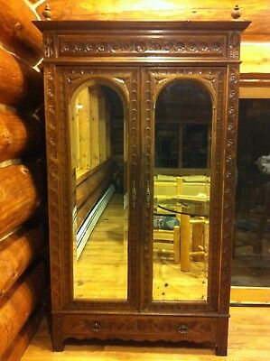 Antique Country French Carved Armoire Quarter Sawn Oak C 1700
