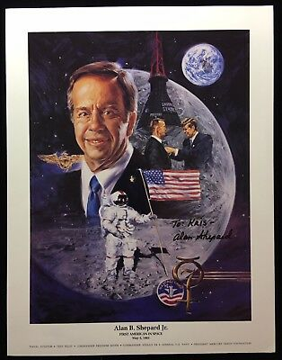 Alan Shepard  Pre-Printed Signature / Auto Penned 8.5 X 11 Color Litho To: Kris