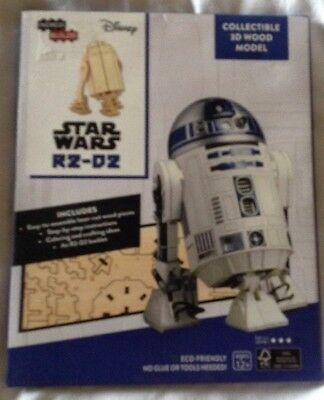 Star Wars R2-D2 Droid Figure 3D Laser-Cut Wood Model Kit and Deluxe Book New