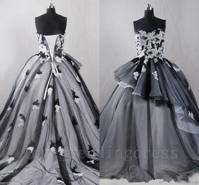Vintage Black&White Ball Gown wedding Dress Gothic Formal Long Bridal Gowns