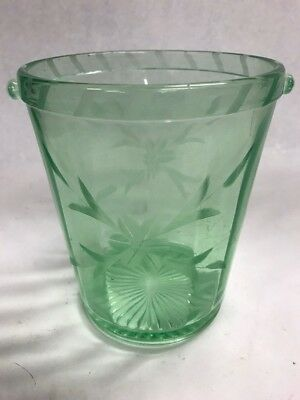 Vintage Green Vaseline Glass Ice Bucket etched Floral bowl dish Mid Century