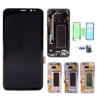 For Samsung Galaxy S8+ Plus G955F LCD Display Touch Screen Digitizer Frame Black