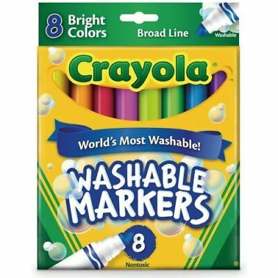 NEW CRAYOLA WASHABLE MARKERS 8 Bright Colors Broad Line FREE Post