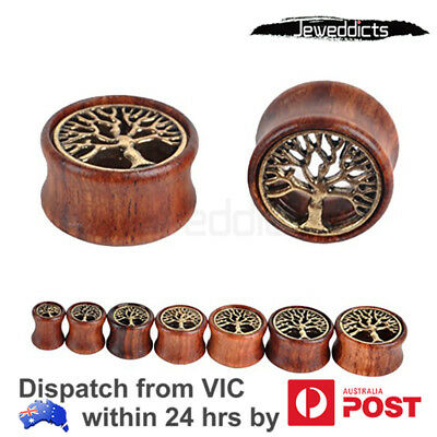 Organic Wood Tunnels Tree of Life Double Flared Ear Stretcher Plugs Piercing