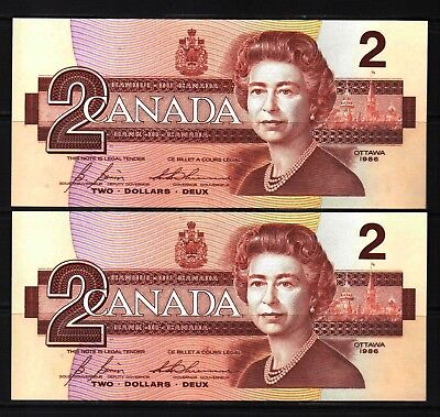 Canada - 1986 Bank of Canada 2X2 Dollars notes P94c/BC-55ic Consecutive UNC GEM