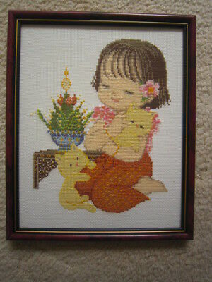 Framed Completed Cross Stitch Of Girl With Kittens Frame 28 X 23.5Cms With Glass