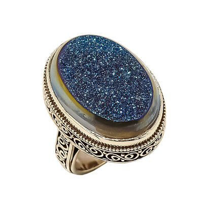 Titanium Druzy Vintage Style 925 Sterling Silver Ring 8(85)