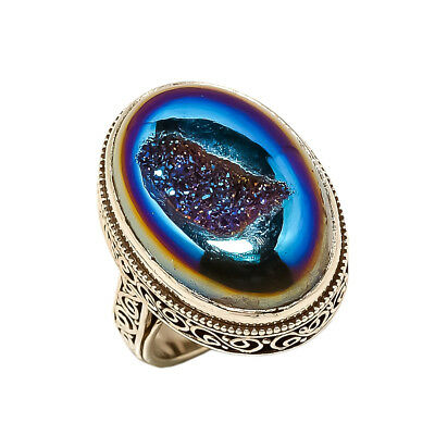Titanium Druzy Vintage Style 925 Sterling Silver Ring 8.25(86)