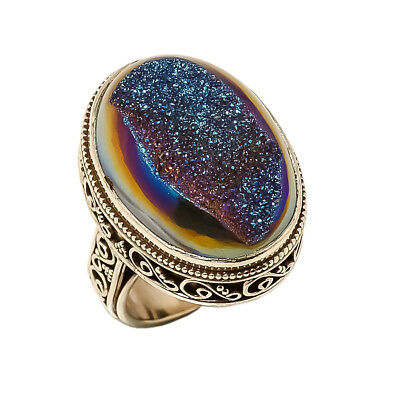 Titanium Druzy Vintage Style 925 Sterling Silver Ring 8(87)