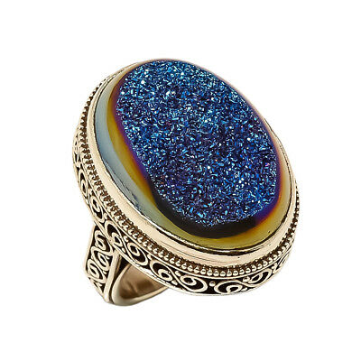 Titanium Druzy Vintage Style 925 Sterling Silver Ring 6.5(88)
