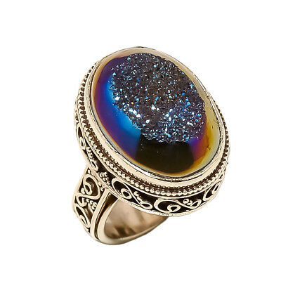 Titanium Druzy Vintage Style 925 Sterling Silver Ring 6.25(89)