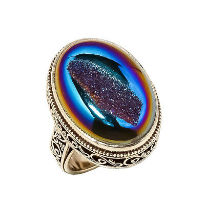 Titanium Druzy Vintage Style 925 Sterling Silver Ring 7.25(90)