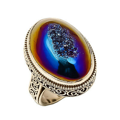 Titanium Druzy Vintage Style 925 Sterling Silver Ring 6.25(91)