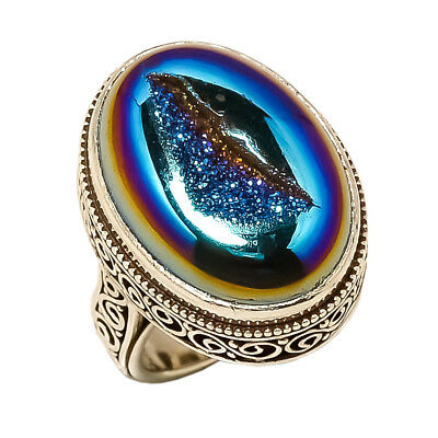 Titanium Druzy Vintage Style 925 Sterling Silver Ring 6.25(92)
