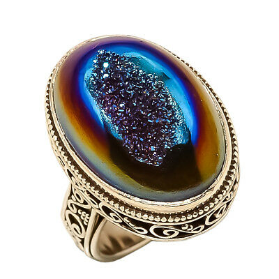 Titanium Druzy Vintage Style 925 Sterling Silver Ring 7(94)