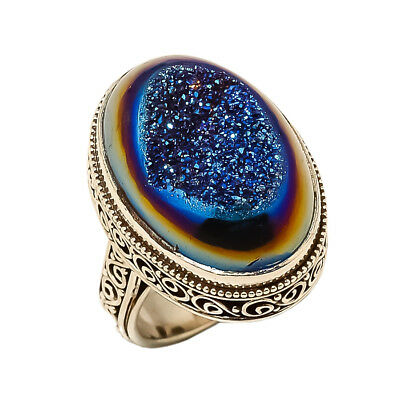 Titanium Druzy Vintage Style 925 Sterling Silver Ring 8(96)