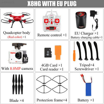 Syma X8HG 2.4Ghz 4CH 6-Axis Gyro RC Quadcopter Helicopter Drone Camera RTF Red