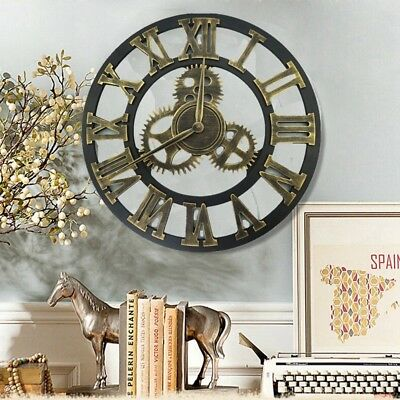 Large Round Wooden Gold Wall Clock Vintage Steampunk Skeleton Modern Home Decor