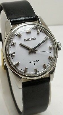 Rare Vintage Seiko White Dial Hand Winding 17J Wrist Watch For Men's Japan Made