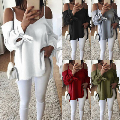 Womens Ladies Cold Shoulder V Neck Tops Blouse Casual Chiffon T  Shirt Plus Size