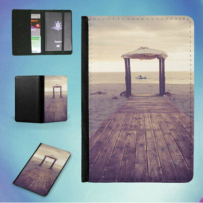 Brown Wooden Dock And White Canopy Tent Flip Passport Cover Wallet Organizer