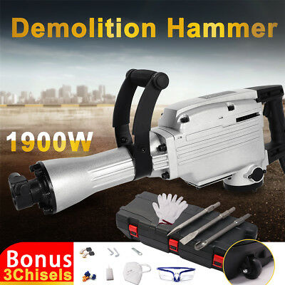 1900W Electric Demolition Hammer Jack Hammer Commercial Grade Concrete 3 Chisels