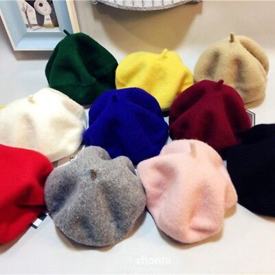 Soft Baby Kids Girls Wool Beret Hat Toddler French Artist Woolen Winter Warm Cap