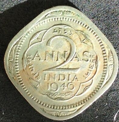 1946 Emp. George VI 2 Annas Indian Coin - Nice Collectable Coin - EF+ 6 Pearls
