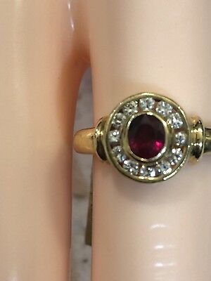 Ladies 18ct Yellow Gold Ruby And Diamond Ring. 18k 750 Not Scrap Gold.