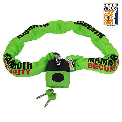 Bike-It Mammoth Motorcycle Bike Thatcham Approved Lock And Chain 12mm 1.8 Metre
