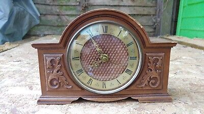 Vintage 80's Bentima battery mantel clock with Junghans German movement