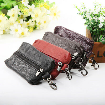 FT- HK- Unisex Genuine Leather Key Holder Case Keychains Pouch Bag Wallet Key Ri