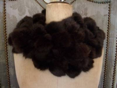 Luxurious Authentic  French Vintage Long  Chocolate Brown Fur Stole  1900s