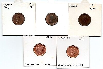 Canadaian x 5 1c Coins (from F to UNC) 1941,1964,1995, 2010 & 2012.