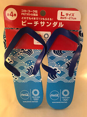 1 pair Official Coca Cola & 2020 Tokyo Olympics Japanese Blue Waves Coke Thongs