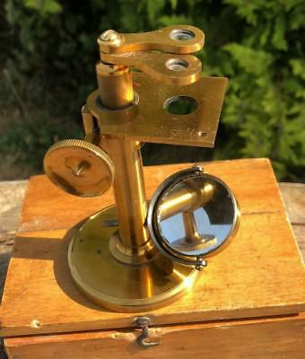 Beautiful Antique Vintage Small Brass Microscope In Original Wooden Box *