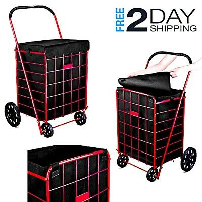 Standard Shopping Cart Square Basket Trolley Liner Cover Handle Rolling Wheels
