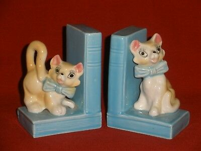 Vintage BLUE BOOKENDS With CATS