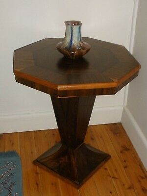 VINTAGE Art Deco OCTAGONAL Pedestal TABLE Side or Lamp GOOD CONDITION