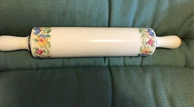 """Vintage Porcelain15""""  Rolling Pin: Cork Permits Filling with Cold Water"""