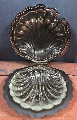 Leonard Silverplate Butter / Serving Dish Shell Shaped With Glass Insert 16M