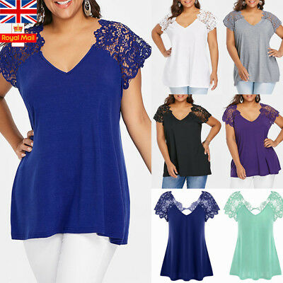 UK Plus Size Women V Neck Lace Short Sleeve Blouse Summer Casual Ladies Tops
