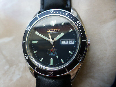 Citizen 7 Automatic WR100 Stahl Day / Date Armbanduhr Uhr