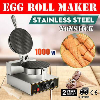 Electric Ice Cream Waffle Cone Egg Roll Maker Ice Cream Stainless Nonstick