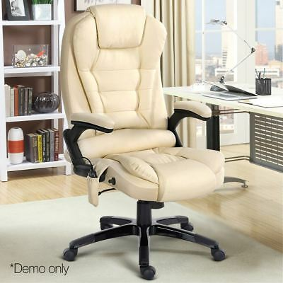 8 Point PU Leather Reclining Massage Chair Executive Home Office Beige