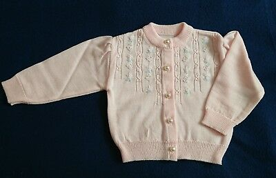 Vintage Baby girls Size 00 Wool Knitted Cardigan Brand New