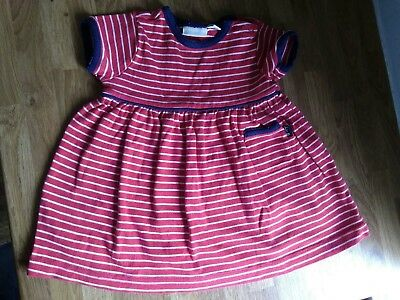 Jojo maman bebe red stripe dress 6-12 months girl