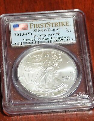2013-(S)    Silver Eagle Struck at San Francisco First Strike   MS70