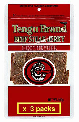 Tengu brand beef jerky Hot Pepper 100g x 3packs JAPAN